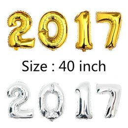 Wholesale Arabic Numeral Numbers - 40 inch Gold Silver Number Foil Balloons for Wedding Party Decoration Happy Birthday Kids Balon Globos