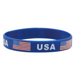 Эко браслеты онлайн-Силиконовый браслет Соединенные Штаты звезды и полосы флаг мода тонкий браслет Эко дружественный браслет портативный 1ds F R