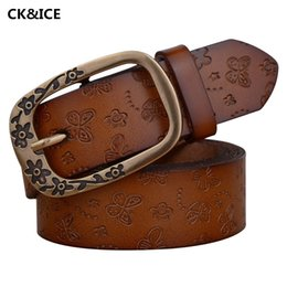 Wholesale Womens Vintage Belt Buckles - Wholesale- New 2017 Women Vintage Belt Pure Color Cow Split Leather Womens Brand Belt Individuality Pin Buckle Ladies Brown Belt