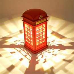 Wholesale British Lamp - telephone box table lamp rechargeable desk light British style decoration light indoor and novel LED desk lamp in bed room telephone booth