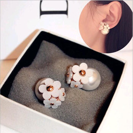 Wholesale Ear Piercing Studs Earrings - Korea Fashion Jewelry Cute Pearl Daisy Flower Front and Back bubble Stud Earrings Double Sided Women pierced ears Mix
