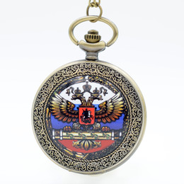 Wholesale Double Head Necklace - Vintage Double-headed Eagle National Emblem Dome Quartz Pocket Watch Analog Pendant Necklace Men Women Watches Chain Gift