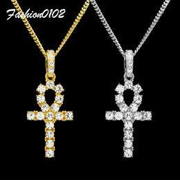 Wholesale Bling Crystal Key Chain - Gold Ankh Necklace Egyptian Jewelry Hip Hop Pendant Bling Rhinestone Crystal Key To Life Egypt Cross Silver Necklace Cuban Chain