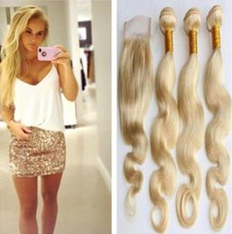 Wholesale 22 Wavy Blonde Hair Extensions - #613 bleached Blonde Brazilian Remy Human Hair body wave with top lace closure weaves wavy extensions 4bundles free shipping