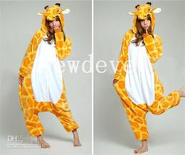 Wholesale Giraffe Kigurumi Pajamas - Funny Giraffe Kigurumi Bridal Undergarments Pajamas Animal Cosplay Halloween Costume Unisex Adult Wear Or Sleepping&Home Dress