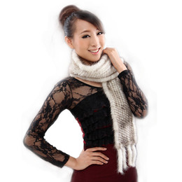 Wholesale Mink Scarfs - Wholesale-New Ms muffler genuine mink fur scarf hand knitted mink scarves wholesale and retail