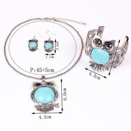 Wholesale Chunky Earrings Wholesale - Free shipping Fashion Turquoise Vintage Jewelry set Owl chunky necklace Bangle earring set