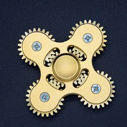 Wholesale Mechanical Gears Wholesale - Four-angle Five Mechanical Gear Linkage Finger Fidget Hand Spinner Alloy Finger spinner EDC Decompression Toys for Kids Adult