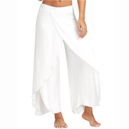 Wholesale Skinny White Harem Pants - 2017 Women Pant Sexy High Split Mid Waist Wide Leg Pants Flowy Female Women Trousers Casual Summer Beach Long Loose Harem Pants