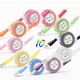 Wholesale Led Usb Smile Charger Cord - Smile LED Light Retractable Micro USB Charger Adapter Lead For Samsung Galaxy S7 S7edge S6 S6edge S5 Note5 data charger cord 1M 3FT