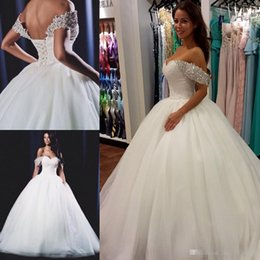 Wholesale Cheap Victorian Dresses - Vestido De Noiva 2017 Saudi Arabia Ball Gown Wedding Dress Off the Shoulder Beaded Victorian Dubai Bridal Wedding Gowns Plus Size Cheap