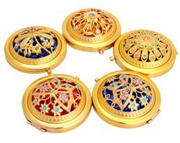 mesas laterais espelhadas atacado Desconto Chic Retro Vintage Espelho De Bolso De Metal De Ouro Compacto Espelhos Retrovisores De Cristal Cravejado de Maquiagem Ferramentas de Beleza Portátil
