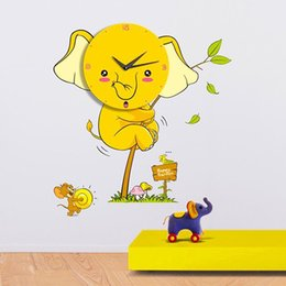 Wholesale Wholesale Children Wall Decor - Childrens Room Decor  Cartoon DIY Wall Sticker Clock Yellow Elephant Clocks Children Bedroom Home Decor Kids Walls Clock Large Decorative