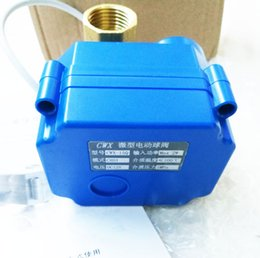Wholesale 12v Valve - Wholesale DC 12V,BSP thread Motorized Ball Valve 3 way G1 2 DN15 (reduce port), electric ball valve, motorized valve, T Port