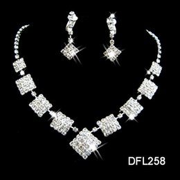 Wholesale Stainless Steel Collar Lock - Rhinestone Bridal Jewelry Sets Hanging Tassel Earring Collars Necklace Weeding 2pcs set Accessories Wedding Necklaces And Earrings