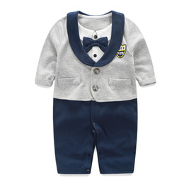 Wholesale Gentleman Baby Long Sleeve Suit - Boy baby clothing suits spring summer newborn climb clothes Romper Jumpsuit gentleman cotton foreign trade wholesale