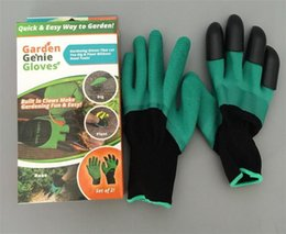 Wholesale Latex Gloves Wholesale Free Shipping - High quality Latex Garden Gloves for Digging & Planting with 4 ABS Plastic Claws gardening gloves Free shipping