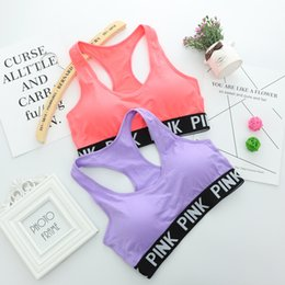 Wholesale Ordering Bra Wholesale - Hot Running Sports Shirts for Yoga Gym bras Push Up Bra Fitness Patchwork Tops love Adjustable Strap Bra pink