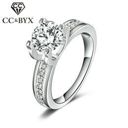 Wholesale Gold Carats - CC Jewelry wholesale 1.5 Carat Cubic Zirconia Wedding Rings For Women White Gold Color Luxury Engagement Bijoux Bague Anel Accessories CC066