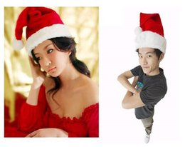 Wholesale Cosplay Hats - DHL Free shipping New Christmas Cosplay Hats Santa Red Plush Christmas Party Hat Holiday Costume Caps Adult Headgear Velvet Santa cap 0250