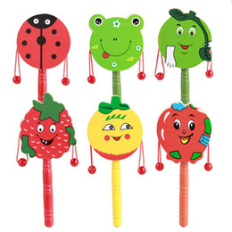 Wholesale Tambourine Rattle - Wholesale- 1pc Baby Kids Cartoon Animal Hand Bell Toy Wooden Rattle Drum Musical Instrument Tambourine Ring Random color