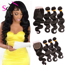 Wholesale Remy Hair Wefts - 100% 8A Brazilian Virgin Hair Extensions 3 Bundles Body Wave Hair Wefts With 1Pcs Lace Closure Unprocessed Remy Human Hair Weave No Tangle
