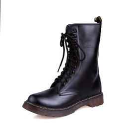 Wholesale Platform Ankle Boots Brown - Unisex Black White Soft Genuine Leather Durable Clear Sole Martin Boots Plus Size