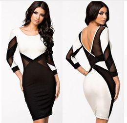 Wholesale Sexy Celeb - 2017 New Vestidos Do Festa Celeb Bodycon Midi Pencil Dress Long Sleeve Autumn Dress Sexy Party Bandage Dress S0853