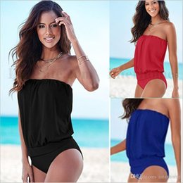 Wholesale Tube Top Bikini Black - Women One Piece Bikini Strapless Swimwear High Waist Swimsuit Sexy Bathing Suit Padded Swimsuit Plus Size Monokini Tube Top Beachwear B1730