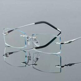 Wholesale Anti Radiation Glasses Computer - Pure titanium frameless diamond cutting spectacle frame box with flat computer blu-ray anti-radiation myopia glasses lens