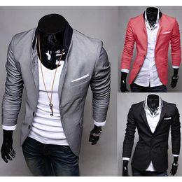 Wholesale Stylish Fashion Blazer Men - Free Shipping 2017 New Fashion Mens Casual Clothes Slim Fit Stylish Suit Blazer Coats Jackets AAACFQ