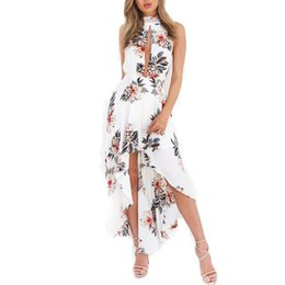 Wholesale Bow Tie Chiffon Dress - Women Sexy Backless Vintage Floral Halter Dress with Lining Hollow Out Sleeveless Back Bow Tie Elastic Dresses Vestidos