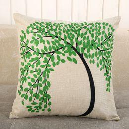 Wholesale Memory Life - ZUODU Life of Tree Printing Cotton Linen Sofa Decor Throw Pillow Covers Pillowcase Sham Decor Cushion Cover Slipcovers Square No Insert 45cm