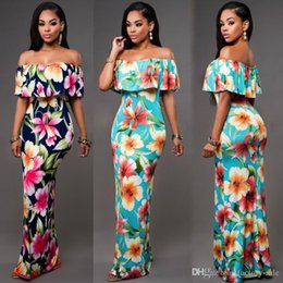 Wholesale Long Sleeve Floral Maxi - Cheap Summer Maxi Floral Printed Dresses Women Long Dresses 2017 Off the Shoulder Beach Dresses Sheath Bodycon Floor-Length Holiday FS1179