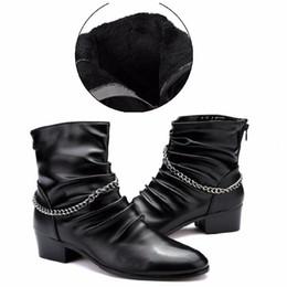 2019 botas de invierno para hombre al estilo. En Ur Hand Men Fashion Boots Adult PU tendencia Zapatos Otoño Invierno British Style Boot Tamaño 39-44 rebajas botas de invierno para hombre al estilo.