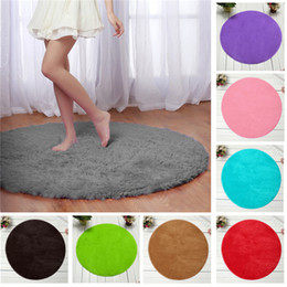 Wholesale Blue Area Rugs - Home Decor Large Fluffy Rugs Anti-Skid Shaggy Area Rug Room Living Room Bedroom Carpet Round Floor Mat,12 Colors,6 Sizes