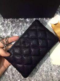 Wholesale Leather Key Card Holder - Hot sale famous brand Genuine lambskin   caviar Leather wallets Women classic Luxury diamond lattice key buckle card holders wallet 50168