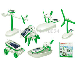 Wholesale Solar Powered Boat Kit - Wholesale-2016 New Arrival 6-in-1 Educational Solar Kit Toy Boat Fan Car Robot Power Moving Dog tRToys DIY Assembling Educational Toy