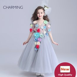 Wholesale Lace Shorts China - flowers girl dresses grey summer dress wedding dresses for girls dress kids designer girls dresses products from china flowers girl dresses