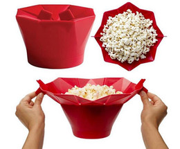 Wholesale Wholesale Food Rice - Silicone popcorn bucket Popcorn maker storage container Foldable microwave pop corn box bucket puffed rice food bowl kitchen accessories