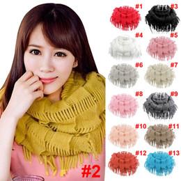 Wholesale Red Knit Scarf Fringe - Wholesale- 2017 New Fashion Womens Winter Warm Knitted Layered Fringe Tassel Neck Circle Shawl Snood Scarf Cowl JL