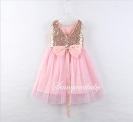 Wholesale Childrens Sashes - 2017 Girls Childrens Dresses Summer Sleeveless Princess Dress for Girls Kids Clothing Ball Gown Pink Dresses Enfant Boutique Clothes