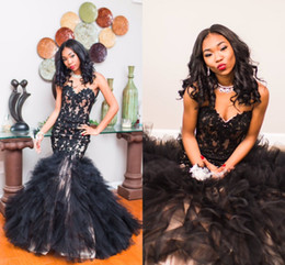 Wholesale Mermaid Corset Prom Dress - 2017 Newest Black Mermaid Prom Dresses Sweetheart Appliques Lace Tulle Floor Length Corset Lace Up Graduation Dresses Party Dresses
