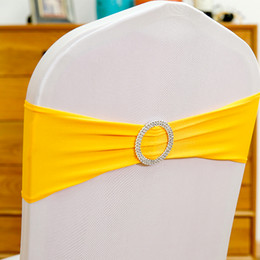 Wholesale Shape Bands - Chair Sashes Spandex Wedding Chair Sash Bands Round Buckle Crown Heart Shape Chair Buckles for Wedding Party Birthday Decoration