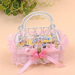 Wholesale Wholesale Iron Handbags - Romantic Bridal Wedding Party Creative Personality Iron Basket Candy Boxes Lace Handbag Shape Sugar Gift Boxes ZA3728