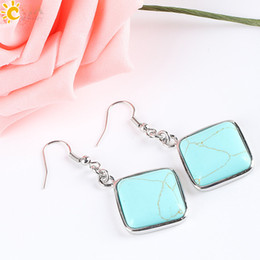 Wholesale Square Shape - CSJA Geometry Diamond Shape Natural Stone Pendant Dangle Earrings Girls Women Jewelry Square White Blue Turquoise Howlite Rose Quartz E163