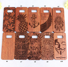 Wholesale Engrave Wood Cover - 2017 Nature Wood Case For Samsung Galaxy S8 S8 plus Laser Engraving Wooden Bamboo Phone Cover PC Hard Back Cases For Samsung S5 S6 S7 edge