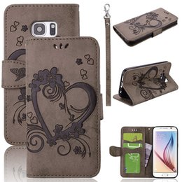 Wholesale Blue Floral Iphone Cases - Premium Vintage Embossed Floral Heart PU Leather Flip Wallet Cover with Card Slot Holder Wrist Strap for Iphone 6 7 plus Samsung S6 S7 Edge