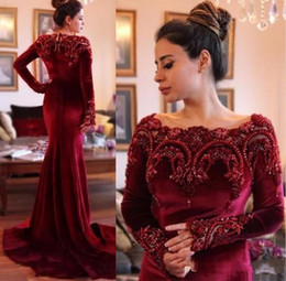 Wholesale Jacket Velvet For Women - Elegant Burgundy Mermaid Long Sleeves Prom Pageant Dresses Major Beading Scoop Sweep Train Velvet Party Evening Formal Gowns For Women 2017