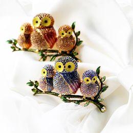 Wholesale Dress Wedding Tale - owl brooch lapel pins fairy tale three birds of Minerva rhinestone owls brooches for ladies dress coat suit wearing